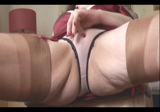 Big tits mature milf shows off sheer panties