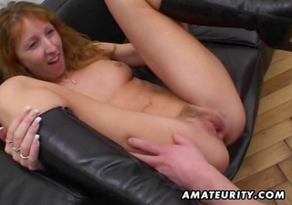 redhead amateur milf double blowjob, anal and