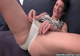 hairy granny has a juicy spot in her panties