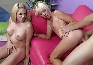 hot mommy with her daughter shares new sperm