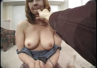 Mature redhead with hairy muff has difficulty