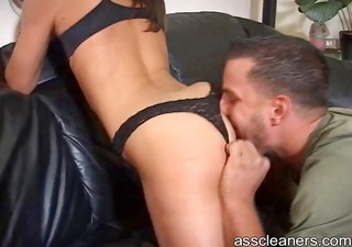 naughty girlfriend hires an arse cleaner to lick