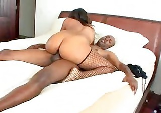 Big ass ebony momma in fishnet stockings gets her
