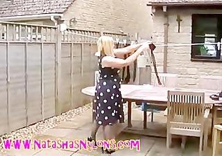 slut milf wife in pantyhose teasing the neighbours